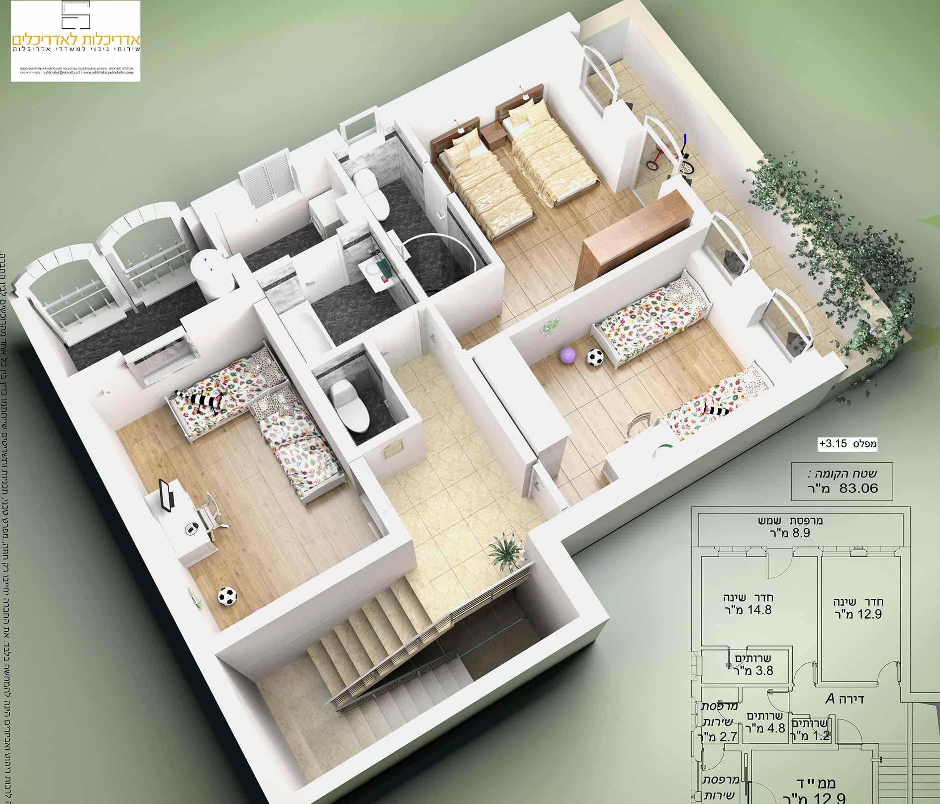 תוכנית אדריכלית לבית פרטי
